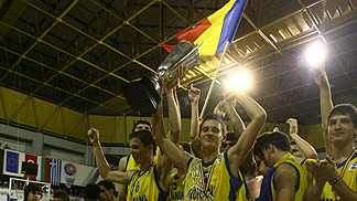 Romania celebrates thier gold medal victory.